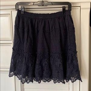 A&F blue midi skirt